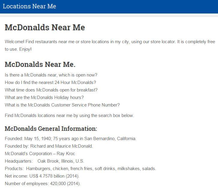 McDonalds Near Me, Find McDonalds Locations near me.