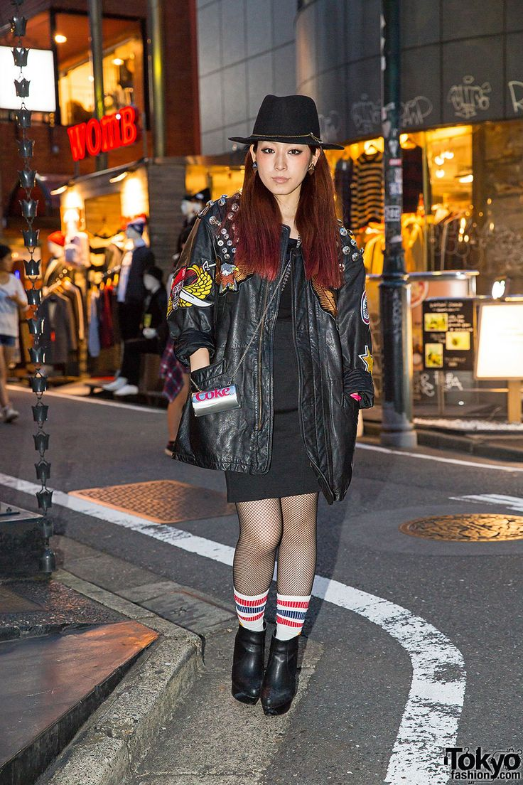 Key is a Japanese singer/musician we photographed on the street in Harajuku after dark.  Harajuku Girl in Moussy Top & Leather Jacket
