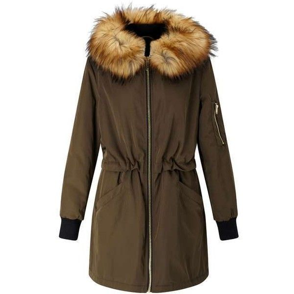 Khaki Luxe Longline Bomber Jacket - View All - Sale - Miss Selfridge ❤ liked on Polyvore featuring outerwear, jackets, long line jacket, bomber style jacket, bomber jacket, brown bomber jacket and flight jacket