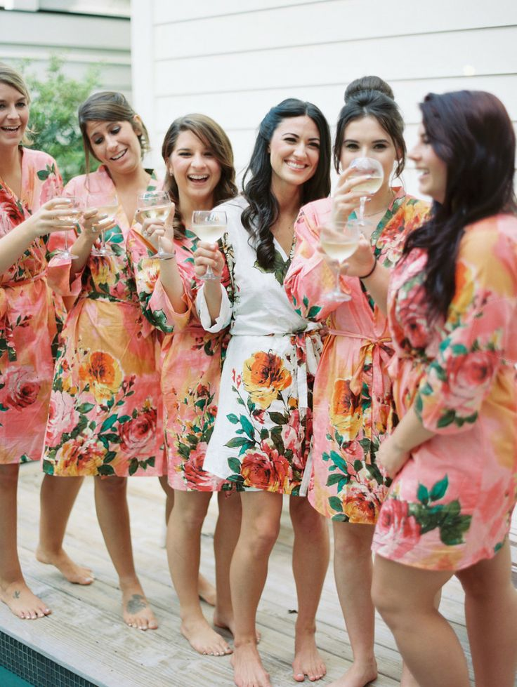Colorful floral bathrobes for a fabulous prep party with the girls!