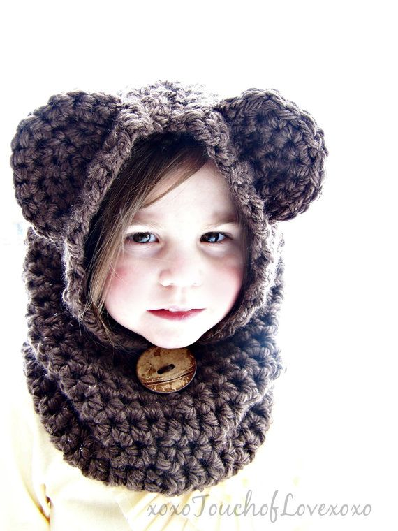 Chunky crochet BEAR  cowl handmade Super Warm ALL SIZES