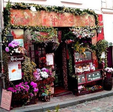 """Cafe Poulbot, Montmartre --- The last time I was here there was a """"resident"""" cat at the front :-)"""