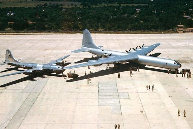 """B-36 Peacemaker along side a B-29 Super Fortress, note the """"obvious"""" size difference!"""