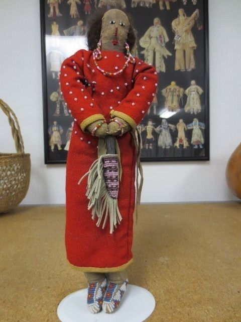 """13 1/4"""" Reservation Era Crow Seed-Beaded Red Trade Cloth Doll"""