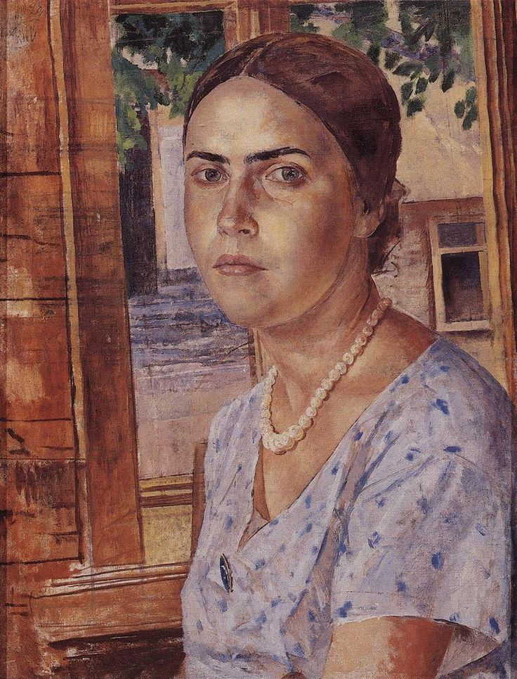 The girl at the window - Kuzma Petrov-Vodkin