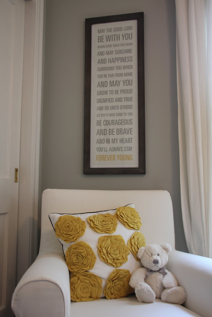 Art for nurseryWall Art, Yellow Pillows, Reading Chairs, Toddlers Room, Nurseries Chairs, Playrooms Art, Gray Yellow, Nurseries Ideas, Baby Nurseries