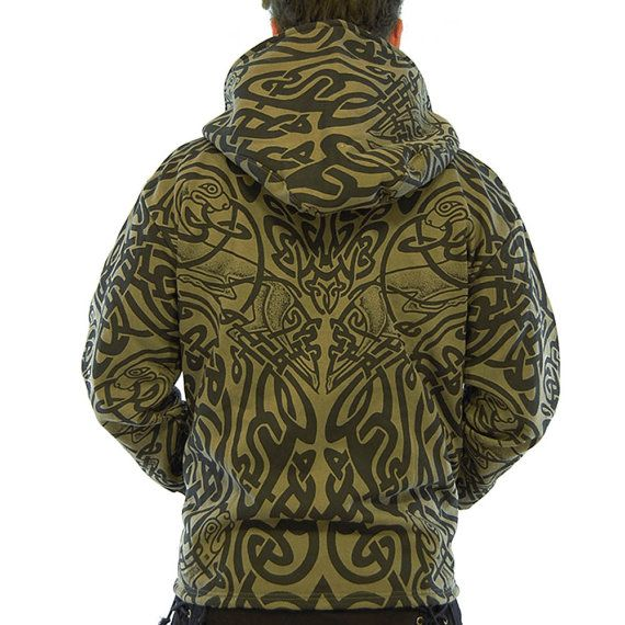XIBII Hooded Sweat Jacket, Hot Tribal Printed Sweatshirt, Maori Tattoo, Trance Festival, Psychedelic, Black / Khaki, Psyware, Handmade Materials: Cotton, zip sweatshirt, tribal print, Maori tattoo, pockets, hooded, khaki and black
