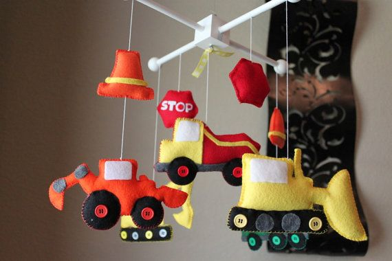 """Baby Crib Mobile - Baby Mobile - Construction Truck Mobile - Nursery Boy Mobile - """"Construction Theme""""(You can pick your colors)"""