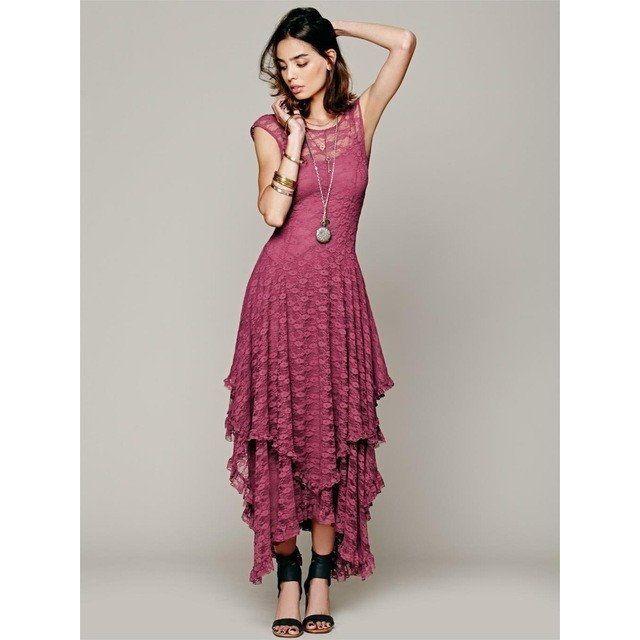 Boho Vintage Ruffle Hem Lace Dress – LaLou