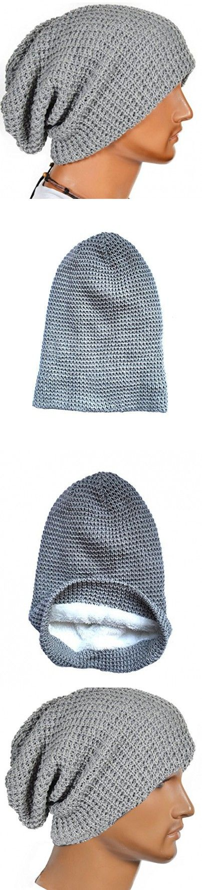 Unisex Slouchy Winter Hats Knitted Beanie Caps Men Women Soft Warm Ski Hat (Gray)