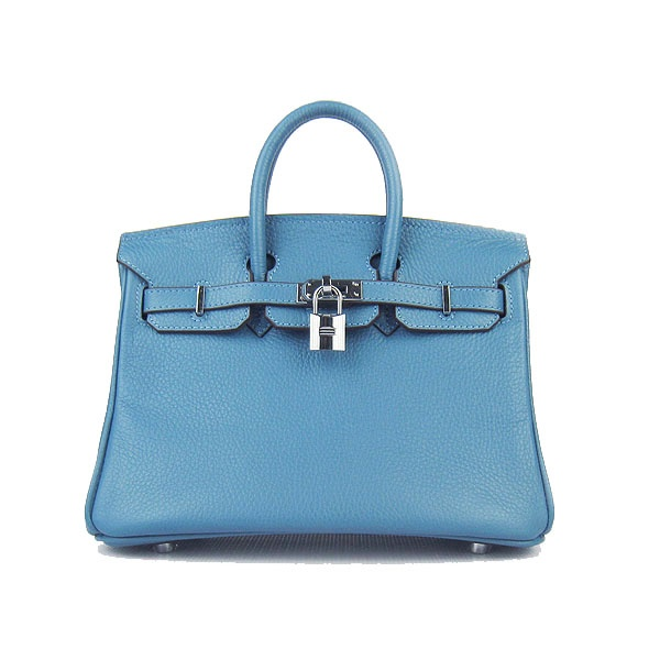 Hermes Blue Jeans 25CM Birkin Clemence Leather Bag With Silver HW Product Model: Hermes Birkin 25CM  Availability: In Stock  Color: Blue Jeans / Silver  Material: Calf Leather  Size: W25×H18×D13CM  Package: Hermes dust pouch, padlock, keys and key ornaments  Shipping: Free Price: $219