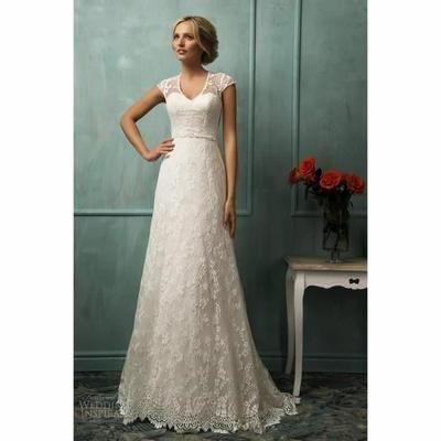Robe De Mariée/Mariage Col V Dentelle Sheer À Manches Courtes Blanc - Achat / Vente robe de mariée - Cdiscount