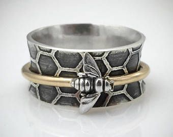 Sterling Silver and Gold Bee Spinner Ring, Silver Spinner Ring, Bee Jewelry, Bee Ring, Honeycomb Ring, Honeycomb Jewelry