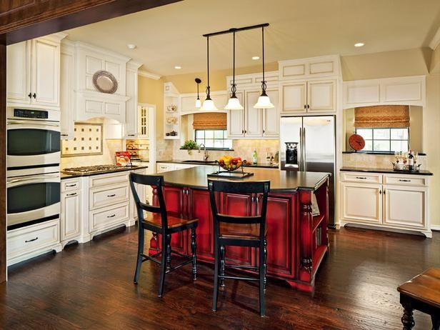 Traditional Kitchen with Island - 99 Beautiful Kitchen Island Design Ideas on HGTV.  RED!!!!!