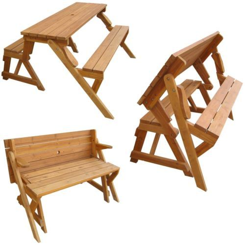 Convertible Picnic Table Garden Bench Natural Wood Outdoor Patio Furniture New Ebay Project