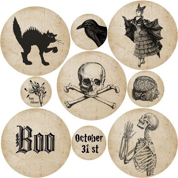 vintage halloween collage sheet (digital) - these would make for great tags on treat bags or as paper ornaments hung on your halloween tree!
