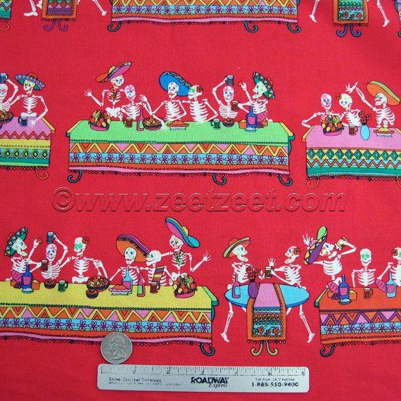 LAST SUPPER Dia de los MUERTOS Red  Cotton Quilt by zeetzeet