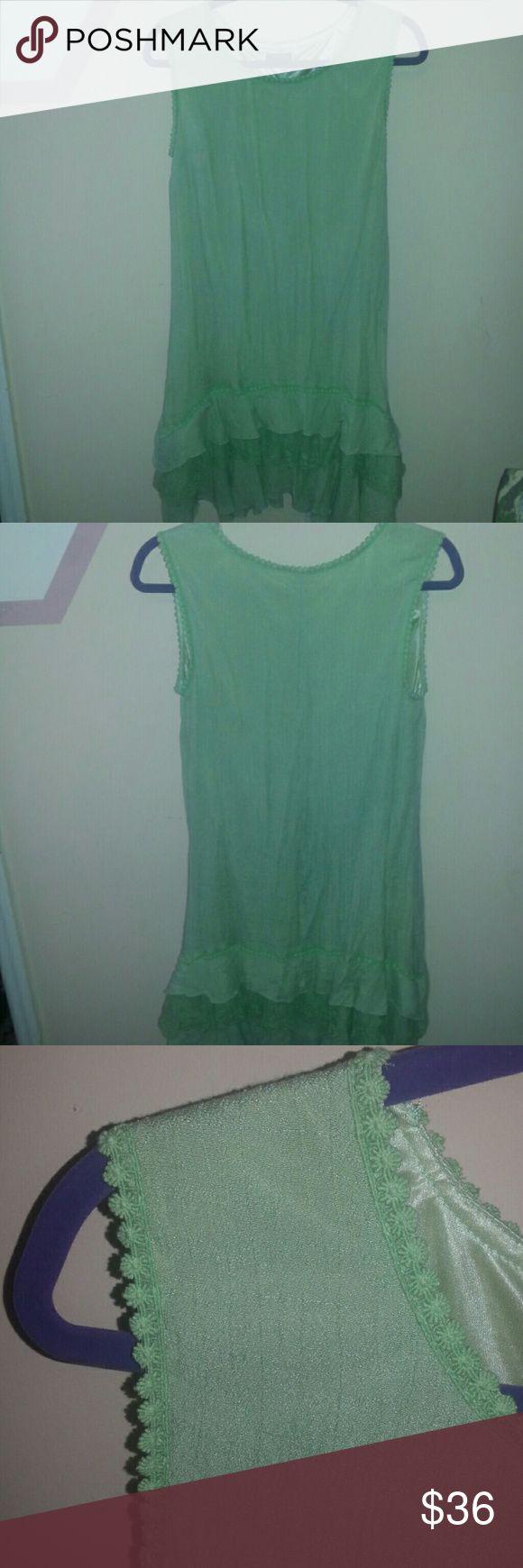 Light green dress Light green dress  fits like a m/l  never been Used adorn Dresses Midi