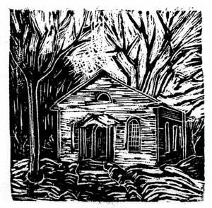 Montsberg Church at Westfield Heritage Village, wood engraving, 2x2 inches