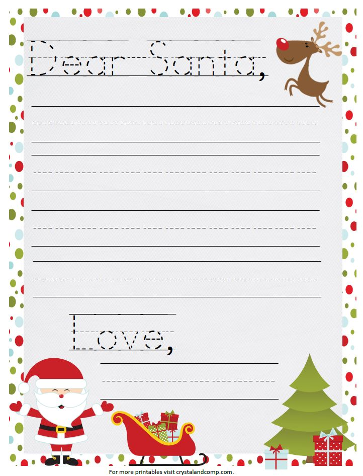 a printable santa letter that you in manuscript with traceable lines