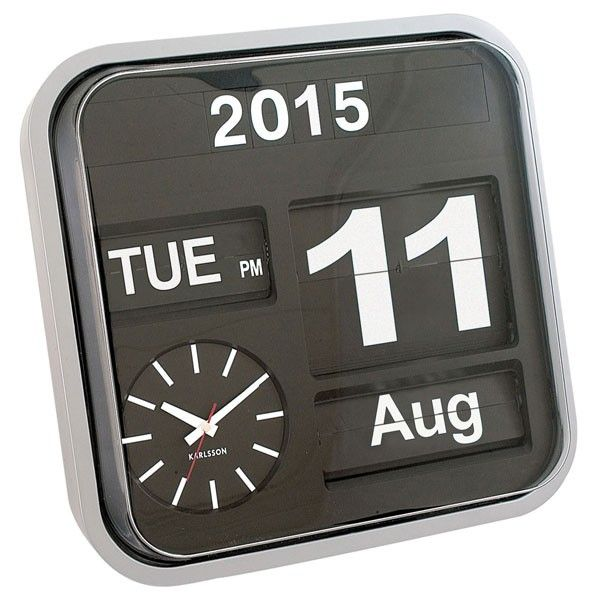 Karlsson Big Flip Clock - Large Station Calendar Clock