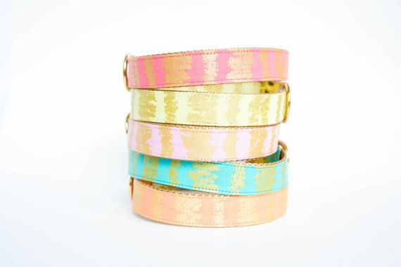 Pale Pink and Gold Dog Collar Metallic Gold by pecanpiepuppies
