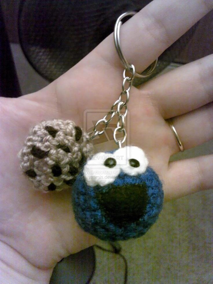 crochet cookie monster keychain    custom pattern