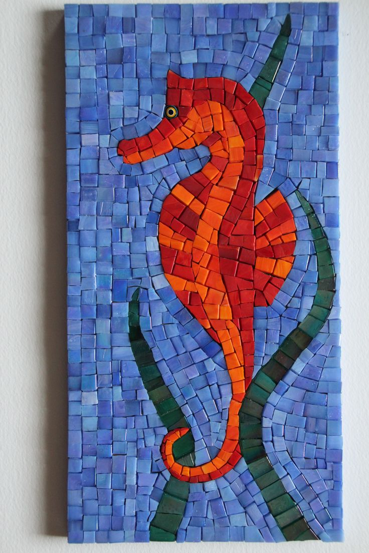 Mosaic seahorse by B. Imhauser A turtle and a crab pieces like this would make a great trilogy hanging . Pool, beach house.