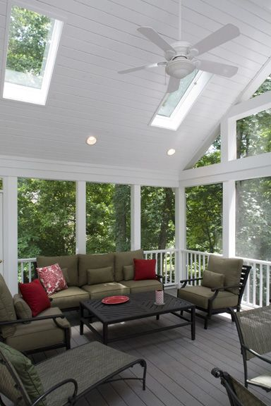 Skylights in Screened Porch. Love this porch. Would love to sit out there in the early mornings and drink my coffee and just relax and enjoy life!