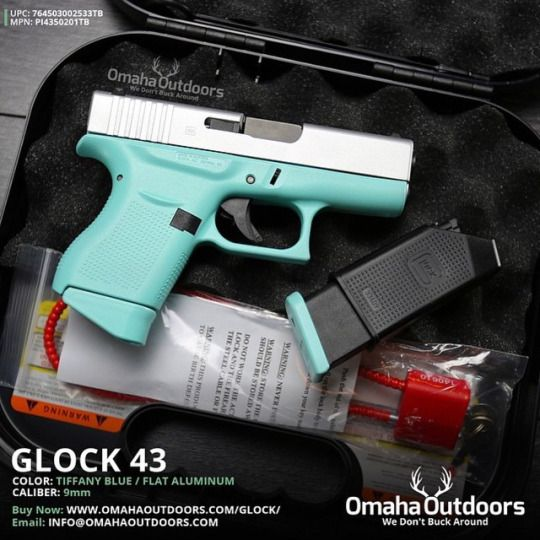 Glock 43 Tiffany Blue 9mm Pistol I would definitely own this....and no man would want to use it! >.<
