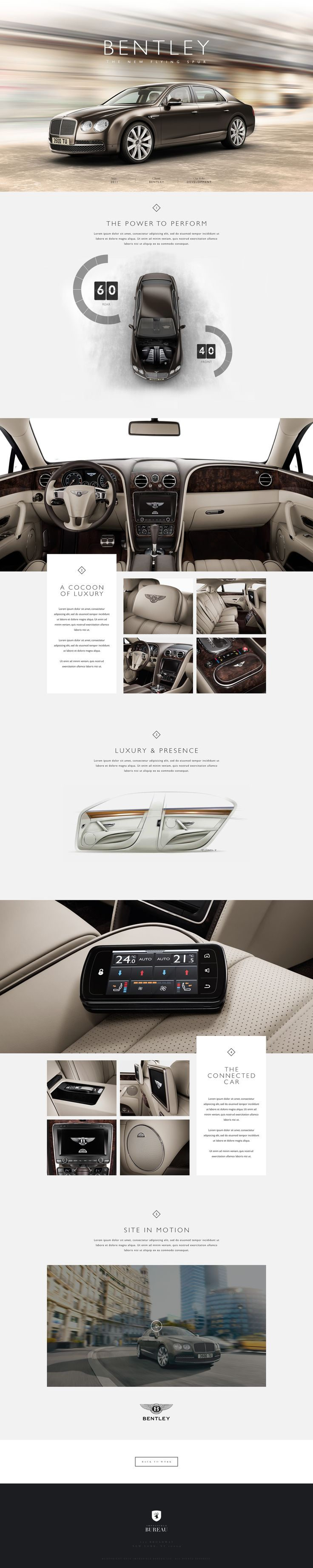 { GoLayerCake.com } Bentley The New Flying Spur. Some nice UI design. sophisticated, yet edgy