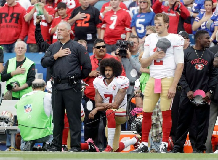 49ers vs. Bills:     October 16, 2016  -  45-16, Bills  -     San Francisco 49ers quarterback Colin Kaepernick (7) kneels during the national anthem before an NFL football game against the Buffalo Bills on Sunday, Oct. 16, 2016, in Orchard Park, N.Y.