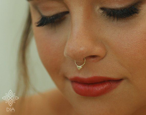 Septum Ring Solid Gold Septum 14k Gold Nose Ring Piercing Etsy