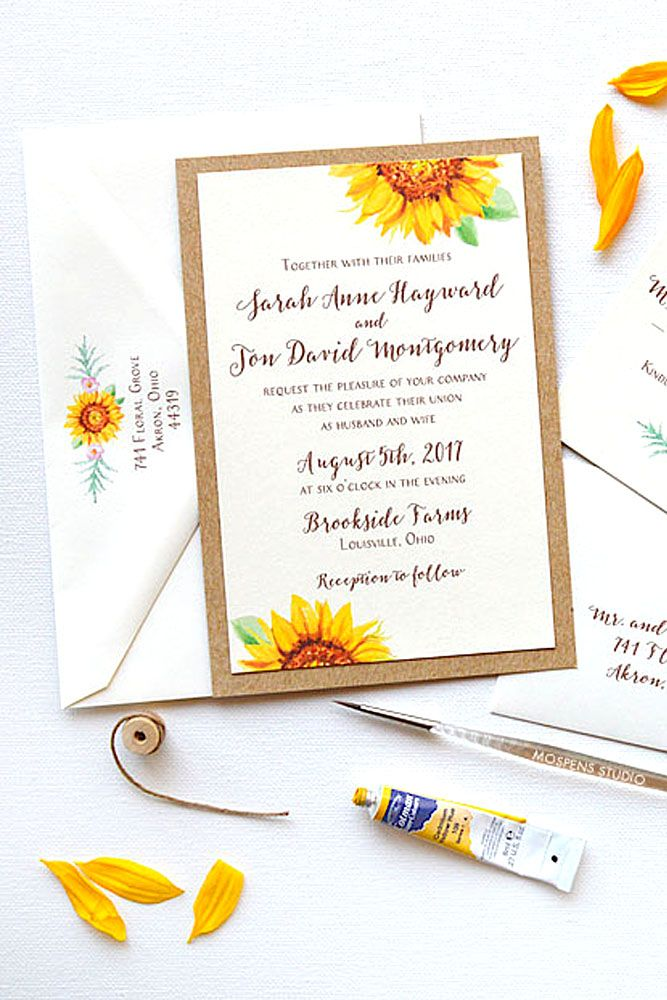 The 25 best Sunflower wedding invitations ideas – Sunflower Wedding Invite