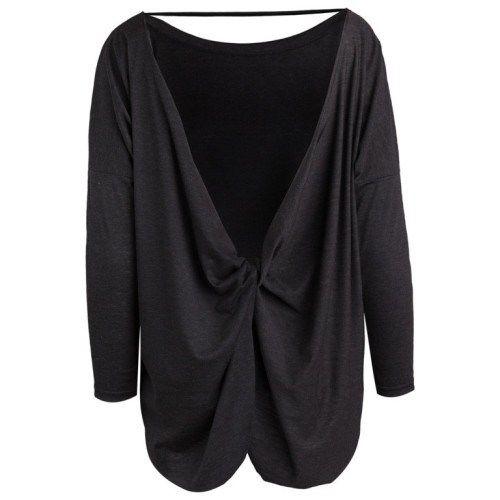 Μακρυμάνικη μπλούζα με στριφτή ανοιχτή πλάτη