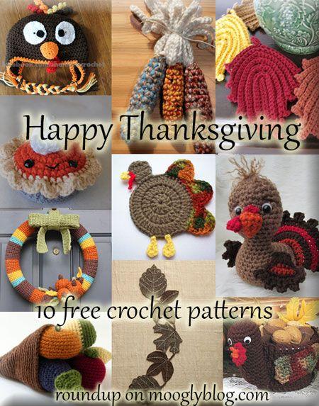 Crochet Thanksgiving: great patterns, all free! Roundup at mooglyblog.com