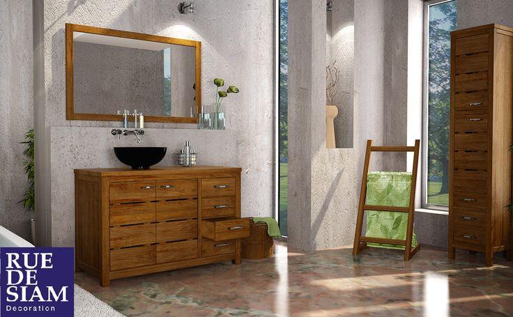 17 meilleures images propos de salle de bain en teck sur - Poser une vasque sur un meuble ...