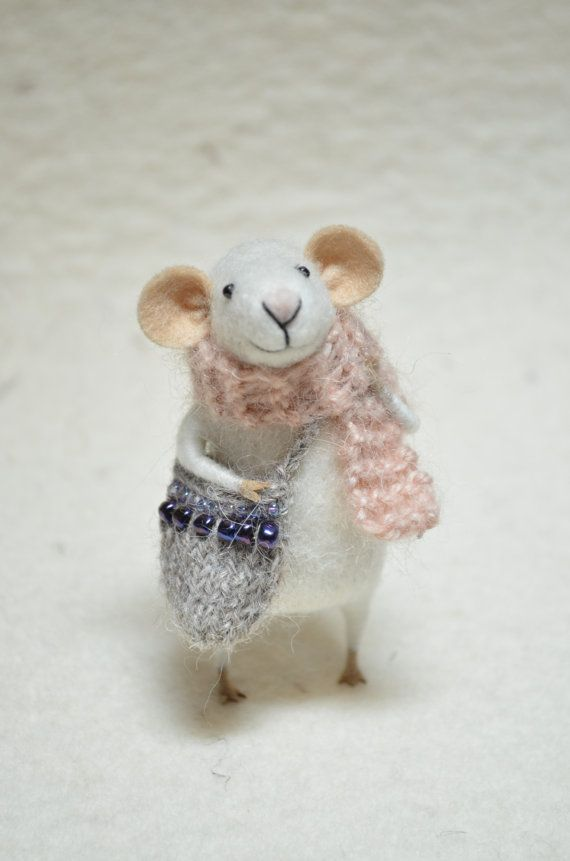 Oh, I just love these little mice! Little Traveler Mouse unique  needle felted by feltingdreams, $58.00