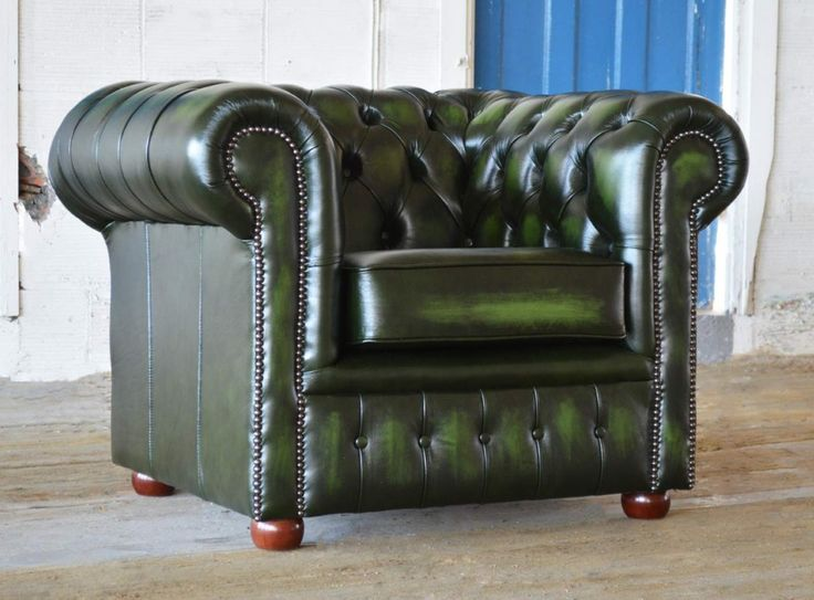 Marvelous Traditional Green Handmade U0026 Deep Buttoned Antique Clarendon Leather Chesterfield  Chair