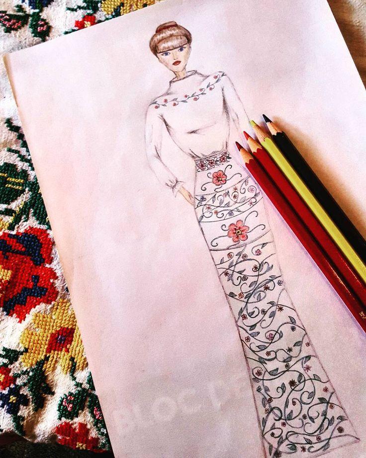"9 aprecieri, 2 comentarii - C.A. (@c.a.ilustratii) pe Instagram: ""Good morning! 😊🤗 #flowers #schita  #color #illustration #imaginationarts #dress #image #hair #red…"""