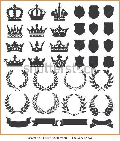 Wreaths and crowns - stock vector