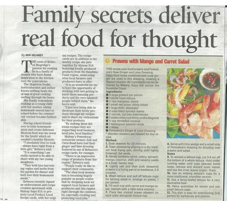 Recipe published in the Sunshine Coast Daily