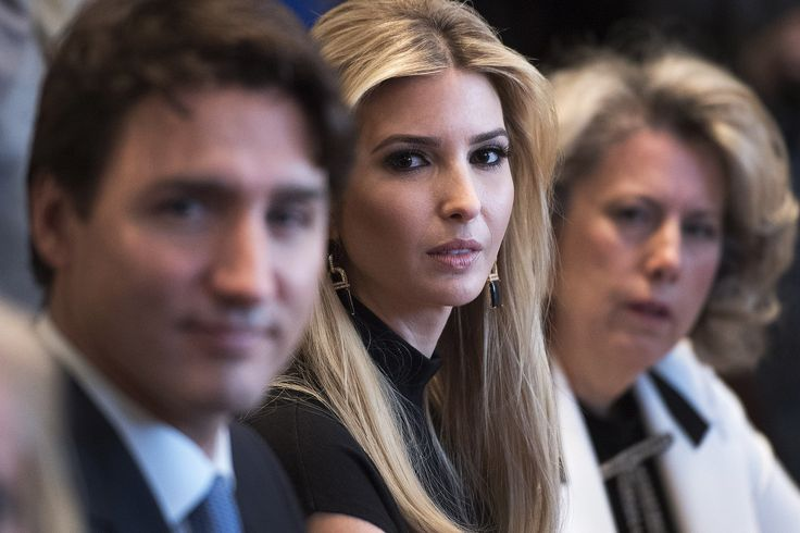 Ivanka Trump with Justin Trudeau back in February, 2017. By Kevin Dietsch/Pool/Bloomberg.