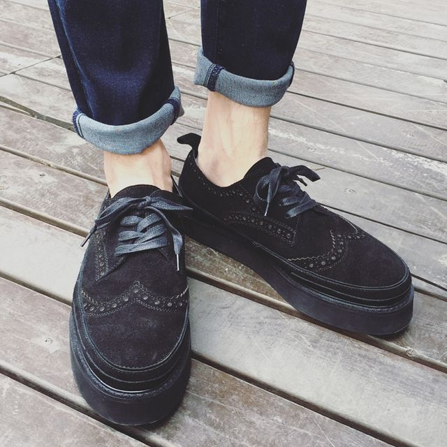 British Style Mens Brogue Shoes for Men Creepers Autumn Spring platform shoes Black Flats zapatillas deportivas hombreX111005