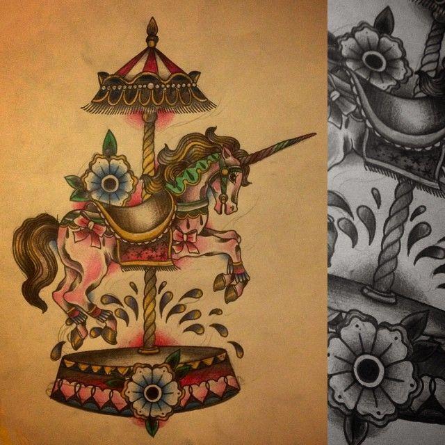 Image result for carousel tattoo tattoos pinterest for Unicorn horn tattoo