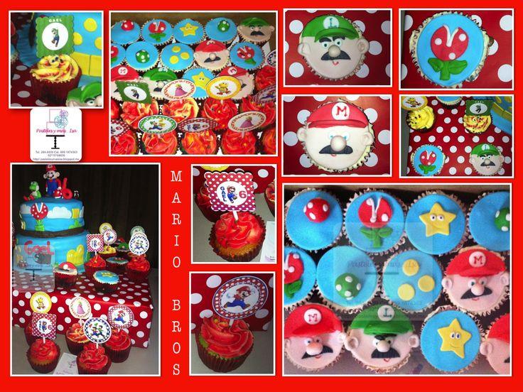 SUPER MARIO BROS - SUPER MARIO BROS CAKE  strawberry-pineapple and vanilla cake fondant    Multicolor vanilla fondant cupcakes