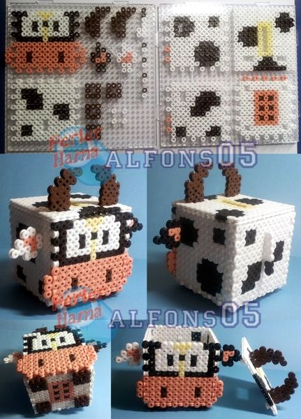 Cow piggy bank hama perler beads by Alfons05