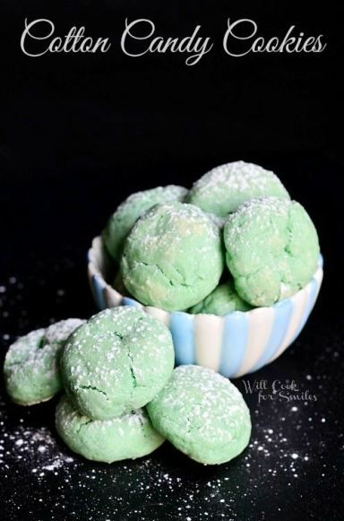 Soft and Chewy Cotton Candy Cookies  from willcookforsmiles.com #cookies #cottoncandy