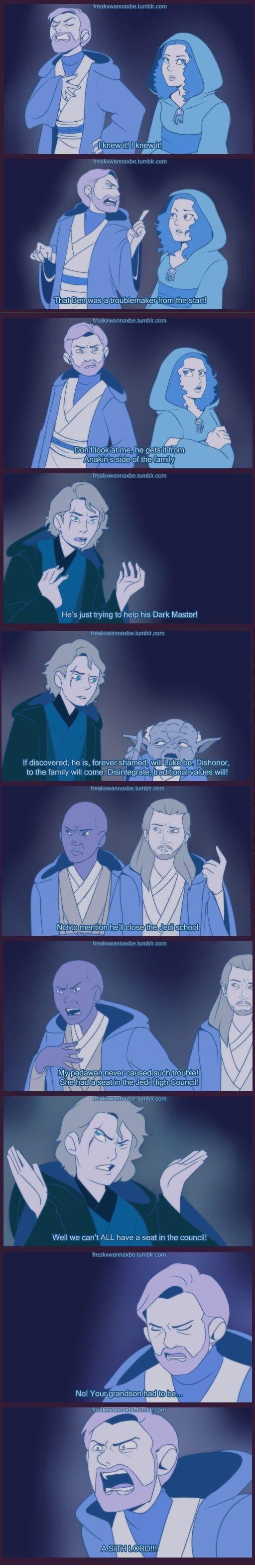 This artist on tumblr draw that scene form Mulan retold as if the Jedi were talking about Ben. Thank you, person #StarWars #Mulan #KyloRen