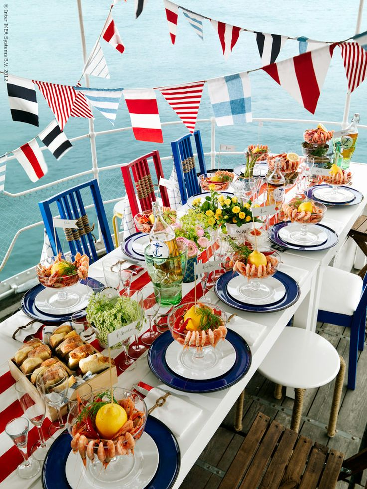 Party onboard! DIY nautical table setting.